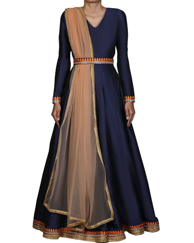 Navy Colored Partywear Embroidered Silk Abaya Style Anarkali Suit