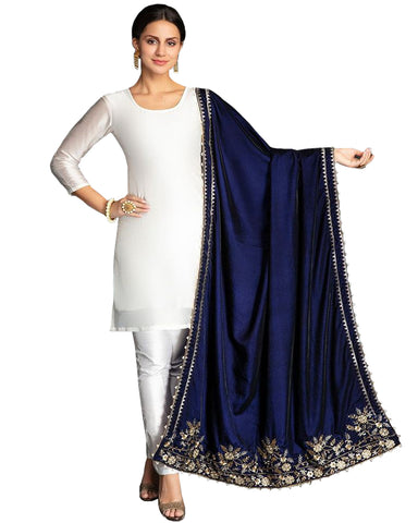 Designer White And Navy Color Pakistani Suit