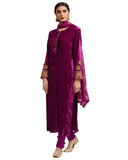 Designer Purple Color velvet Pakistani Suit