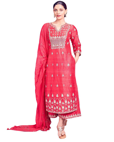 Designer Pink Color Silk Pakistani Suit