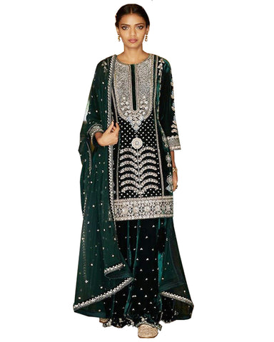 Designer Olive Color velvet Pakistani Suit