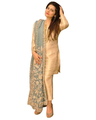 Designer Cream And Grey Color Borcade Pakistani Suit