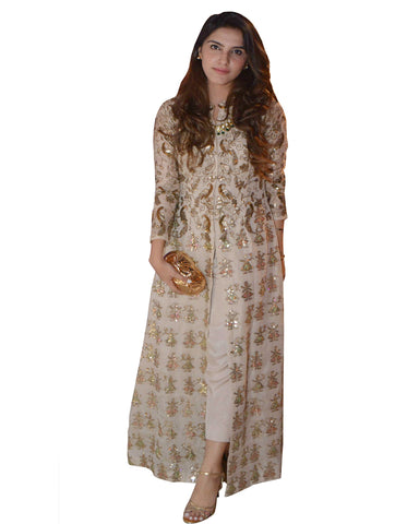 Designer Cream Color Soft Silk Pakistani Suit