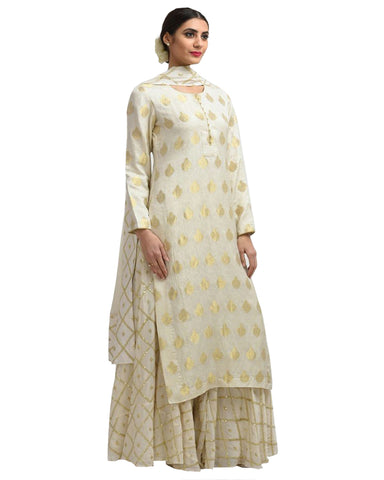 Designer Off-White Color Borcade Pakistani Suit