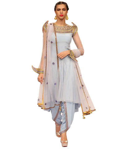Designer Grey Color Soft Net,Silk Pakistani Suit