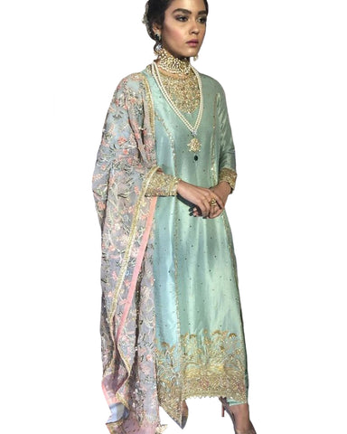 Designer Sky And Light Purple Color Pakistani Suit