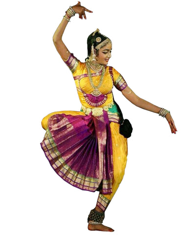 Yellow And Purple Classical Dance Dress