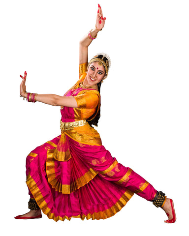 Dark Pink And Yellow Classical Dance Dress
