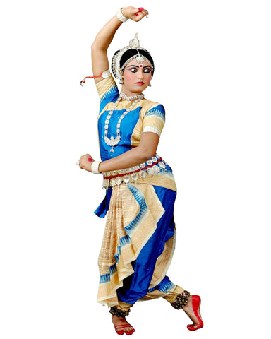 Blue And Cream Classical Dance Dress