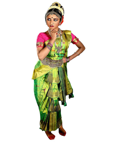 Green And Pink Folk Dance Dress