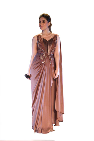 Kareena Kapoor Brown Satin Georgette Saree