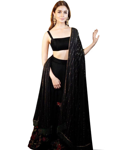 Alia Bhatt Black Color Silk Lehenga
