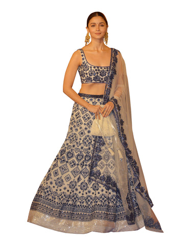 Alia Bhatt Cream Color Wedding Lehenga