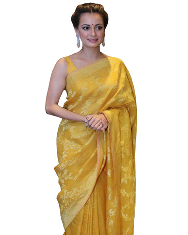 Dia Mirza In Yellow Silk Saree