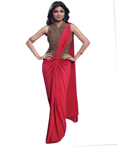 Red Color Shilpa Shetty Georgette Saree