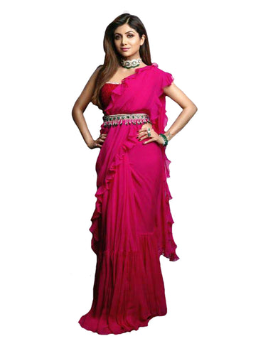 500720f52 Shilpa Shetty Style Pink Colour Beautiful Party Wear Ruffle Saree
