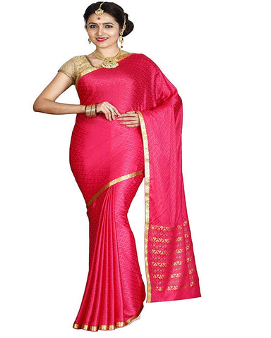Pink Color Mysore Crepe Silk Saree