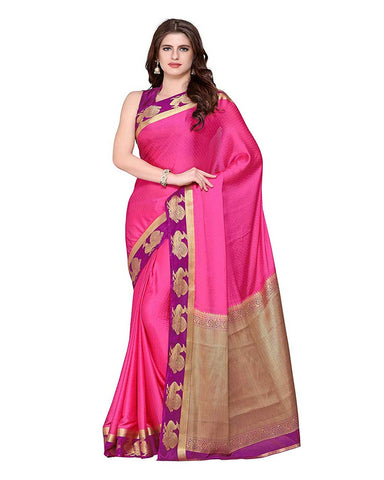 Pink Color Mysore Crepe Saree