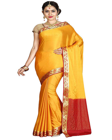 Yellow Color Mysore Crepe Silk Saree