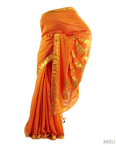 Pretty Mysore Crepe Pure Silk Soft Orange