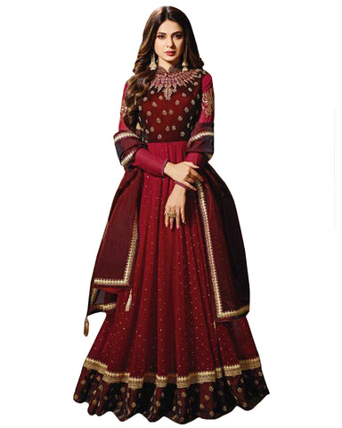 Lovely Maroon Silk Anarkali Suit With Resham Work