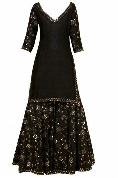 Demanding Black Colored Partywear Palazzo Suit