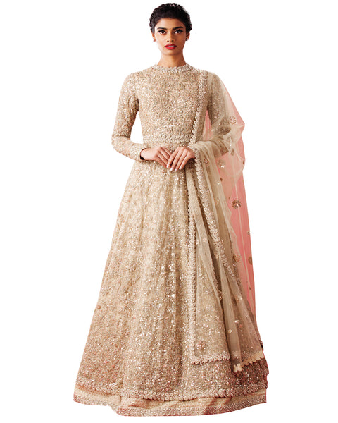 Demanding Light Goldern Colored Partywear Embroidered Angrakha Suit