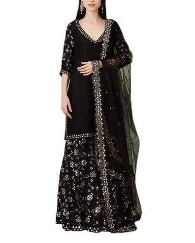 Demanding Black Colored Partywear Mirror Palazzo Suit