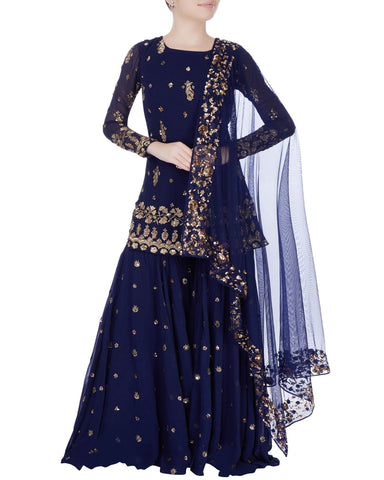 Demanding Blue Colored Partywear Palazzo Suit