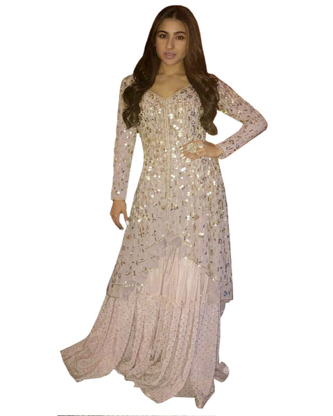 Demanding Light Pink Colored Partywear Palazzo Suit