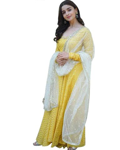 Bollywood Yellow And White Color Alia Bhatt Long Suit