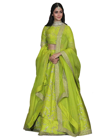Alia Bhatt Light Green Color Silk Lehenga