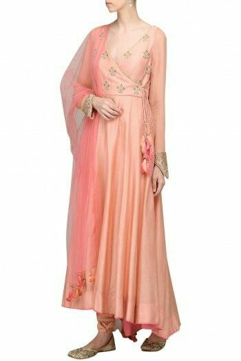 Demanding Peach Colored Partywear Embroidered Angrakha Suit