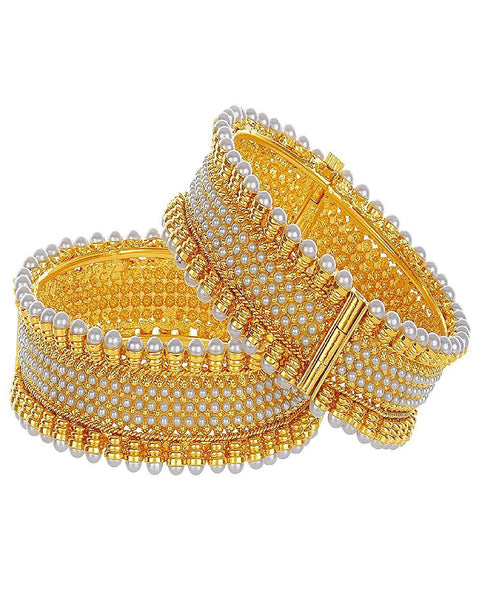 Pretty Gold Plated Pearl Bangles Set For Women