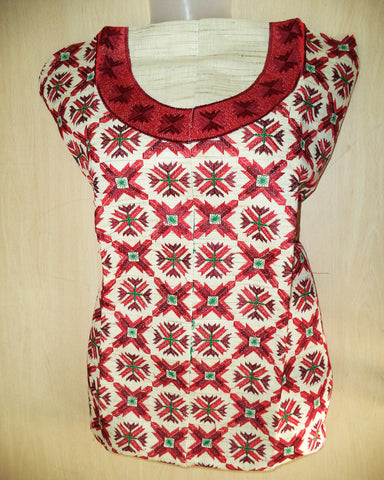 Red Phulkari Embroidered Kurti