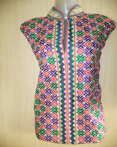 Rose Pink Phulkari Embroidered Kurti