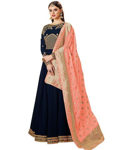 Navy Blue Real Georgette Embroidered Party Wedding Wear Floor Length Anarkali Dress