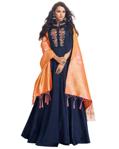 Navy Blue Viscose Silk Banarasi Dupatta Gown Style Anarkali Dress