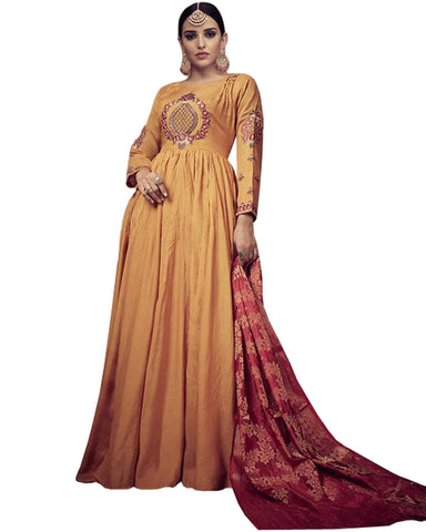 Rayon Gold Anarkali Dress