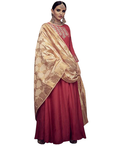 Rayon Maroon Anarkali Dress