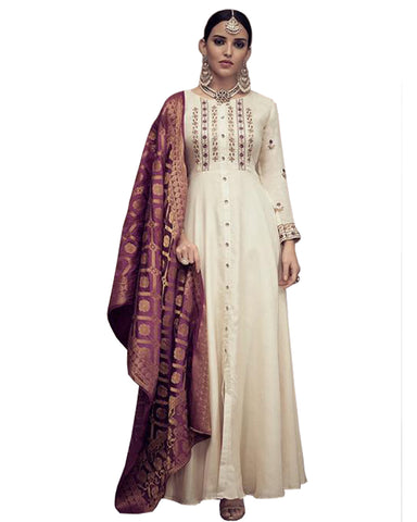 Rayon White Anarkali Dress