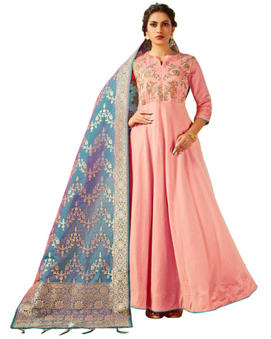 Light Pink & Sky Blue Viscose Silk Banarasi Dupatta Gown Style Anarkali Dress