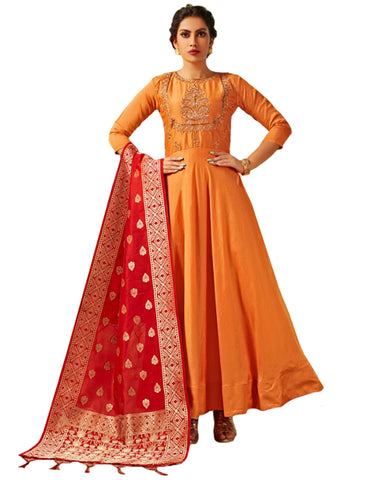 Yellow & Red Viscose Silk Banarasi Dupatta Gown Style Anarkali Dress