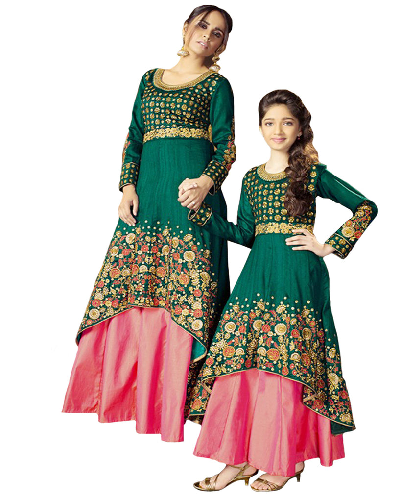 a46bc193d6 Dark Green Color Mother Daughter Lehenga Suit – Sulbha Fashions
