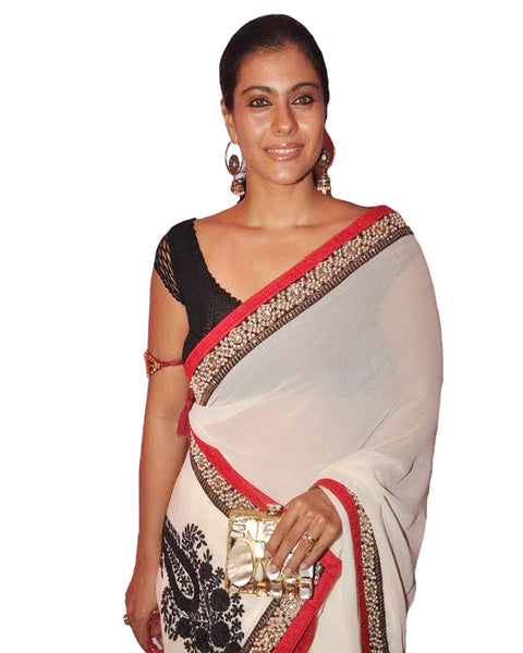 Kajol White Georgette Saree