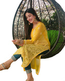 Yellow Color Chikankari Pure Georgette Kurti