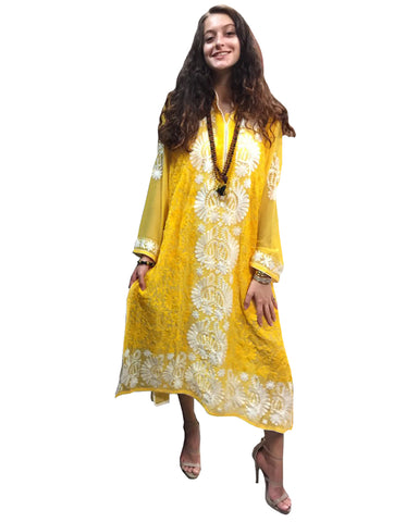Yellow Color Chikankari Pure Georgette A-Line Kurti