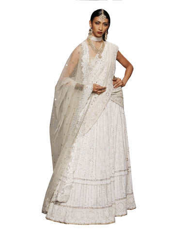 White Color Chikankari Faux Georgette Gotta Patti Work Lehenga