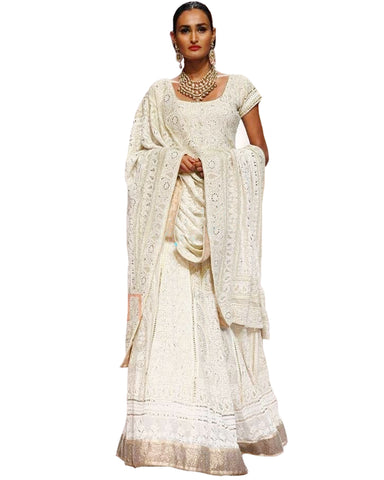 Cream Color Chikankari Faux Georgette Gotta Patti Work Lehenga