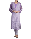 Light Purple Color Chikankari Pure Georgette Kurti